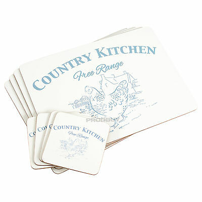 Set of 4 Placemats & Coasters Country Kitchen Chickens Dinner Table Setting Mats