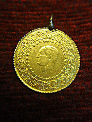 1975 Turkey Gold 50 Piastres Pendant - Unusual Gold Coinage