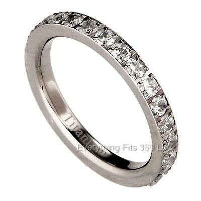Solid Titanium Eternity Ring Round Clear CZ around Size 4 - 8