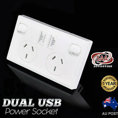 2x Dual USB Australian Power Point Home Wall Power Supply Socket SAA Approval
