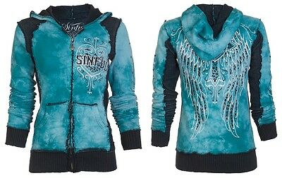 Sinful AFFLICTION Women Hoodie Sweatshirt ZIP UP Jacket BLITZKRIEG Biker UFC $74