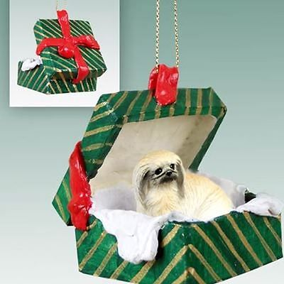 PEKINGESE Dog Green Gift Box Holiday Christmas ORNAMENT
