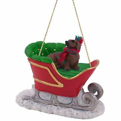 DACHSHUND Red Dog SLEIGH Ride Christmas ORNAMENT