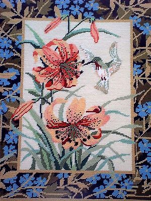 """Finished Wool Needlepoint TIGER LILY & HUMMINGBIRD Framed w Glass 18"""" x 23"""""""
