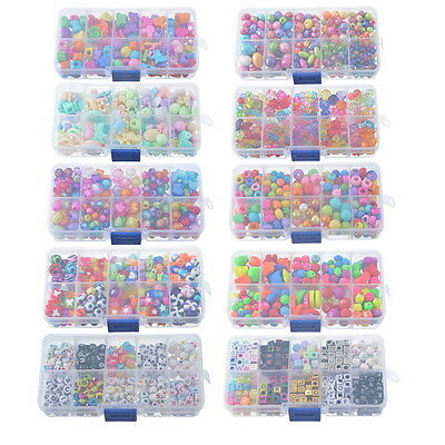 1Set Acrylic Beads DIY Creative Craft Childrens Toys Beads Jewelry Making Kit