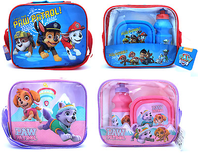 Childrens Kids Paw Patrol Lunch Bag With Bottle & Sandwich Box School Dinner Set