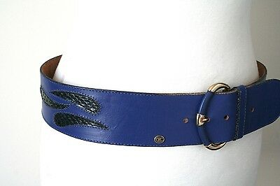 S/M Blue Vintage Belt - 1980s leather / snakeskin wide belt