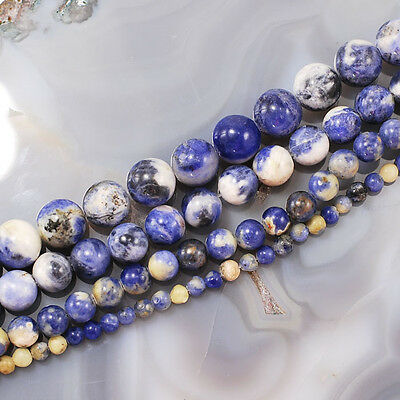 "Wholesale Smooth Natural Blue Sodalite Round Beads Spacer 15"" 4 6 8 10mm"