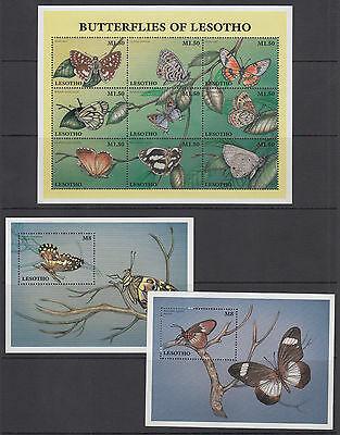 Lesotho Sc 1080-1082 MNH. 1997 Butterflies, Mini-Sheet + both Souvenir Sheets