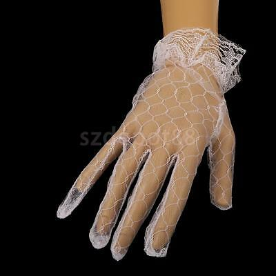 """9"""" Wrist Length Lace Net Gloves Party Wedding Women Costume Accessary White"""