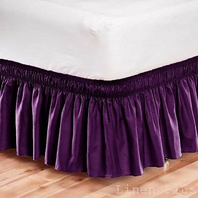 Elastic Bed Skirt Dust Ruffle Easy Fit Wrap Around Purple Color Full Size