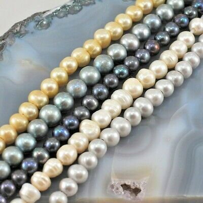 """9x9mm Natural Freshwater Pearl Round Beads Big Hole 8"""", pick your color"""