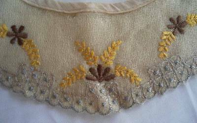 Antique Arts & Crafts Embroidered Collar Cuff Set French Boucle Lace