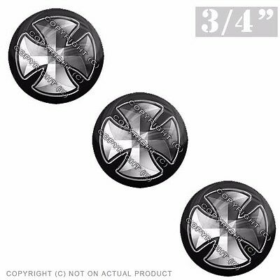 """3 Pack Gel Top Domed Glossy 3//4/"""" 3M Premium Decal Stickers IRON MALTESE CROSS"""