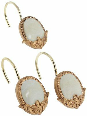 Carnation Newport Set Of 12 Resin Shower Curtain Hooks, Beige And Gold