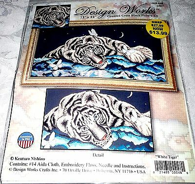 """Design Works Counted Cross Stitch Kit WHITE TIGER 12"""" x 22"""""""