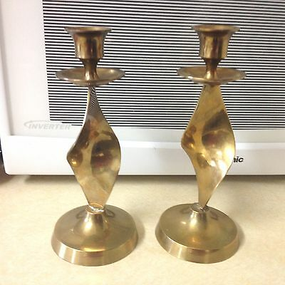 """Solid Brass 8"""" Tapered Candlestick Holders (2) Made in India"""