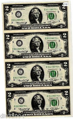 LOT 4 Billets 2 $ Etats UNIS AMERIQUE USA 1976 * STAR C PHILADELPHIA UNCUT NON