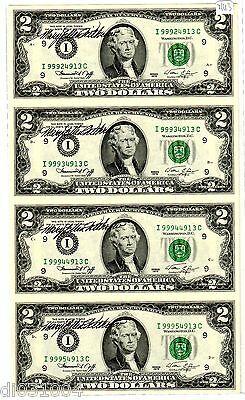 LOT 4 Billets 2 $ Etats UNIS AMERIQUE USA 1976 I Minneapolis UNCUT AUTOGRAPH