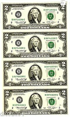 LOT 4 Billets 2 $ Etats UNIS AMERIQUE USA 1976 B NEW YORK UNCUT NON COUPé
