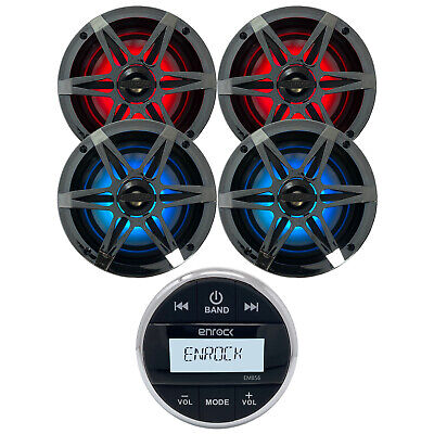 "New Silver Bluetooth Marine Gauge Stereo 4 6.5"" Inch LED Light's Marine Speakers"