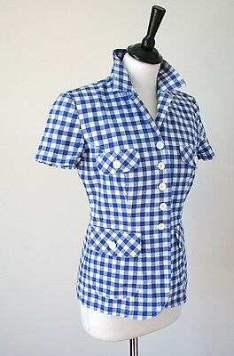 Daniel Hechter Vintage Top - Blue Gingham / Checked Stretch Cotton - UK 8