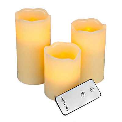 3 X Remote Control Led Soft Flameless Flickering Flame Christmas Candles