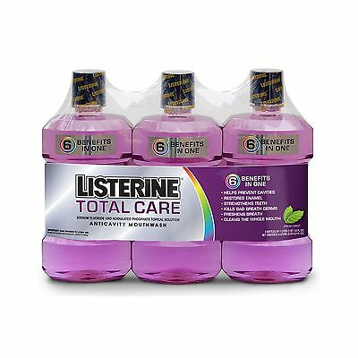3 pk Listerine Total Care Mouthwash Fresh Mint  1 Liter Each