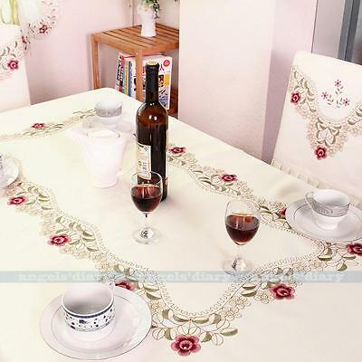 Rectangle Satin Fabric Floral Embroidered Cutwork Tablecloth Table Cover #8