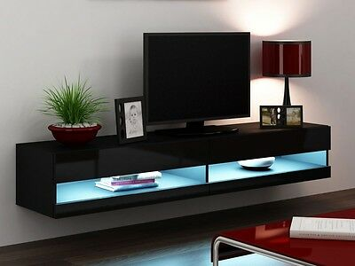 tv unterschrank h ngeschrank wohnwand wei schwarz cs. Black Bedroom Furniture Sets. Home Design Ideas