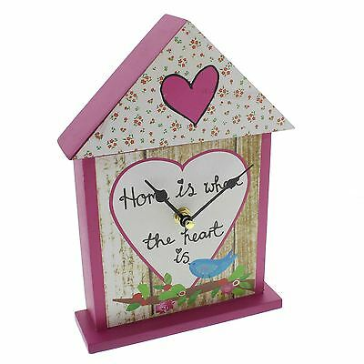 Paper Salad Bird House Mantle/Table Clock Home Is Where The Heart Is Clock Face