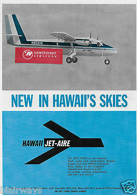Hawaiian Jet Aire De Havilland Twin Otter 808's 1969 New To Hawaii Skies Ad