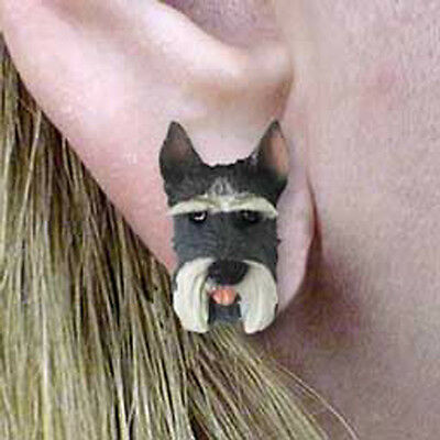 SCHNAUZER Gray Tiny One Dog Head Post Earrings Jewelry