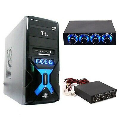 """3.5"""" PC Panel 4 Channel Cooling Fan Speed Controller Ultra Bright LED Light Knob"""