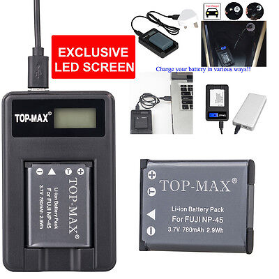 NP-45 NP45 NP45A NP-45A Battery + USB DISPLAY Charger for  FUJI FUJIFILM FINEPIX