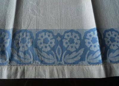 Vintage 40s Guest Hand Towel Blue Damask Art Deco Flowers & Leaves Linen