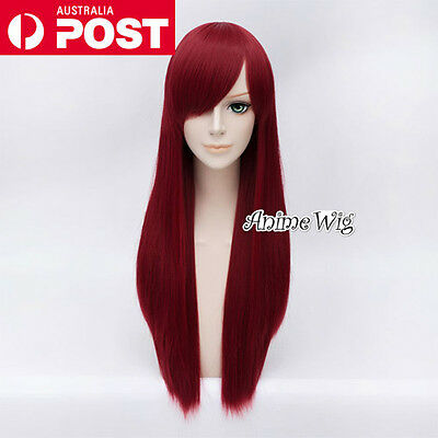 70CM Wine Red Long Straight Lolita Fashion Lady Cosplay Wig Heat Resistant