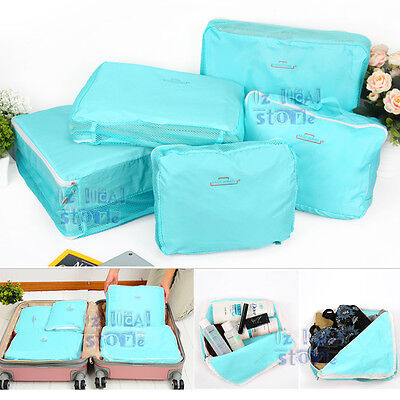 5x Cube Pouch Pack Clothes Storage Bags Travel Luggage Suitcase Organizer Blue