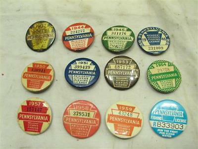 12 PA Fishing License Buttons 1937,1944,1945,1946,1950,1951,1952 Pennsylvania