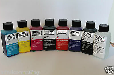 Refill 8x 100ml high gloss pigment ink  Epson Stylus Photo R800 R1800 NON OEM