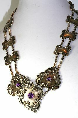 Exquisite Victorian Antique Gold Over Sterling Silver Amethyst Belt And Buckle