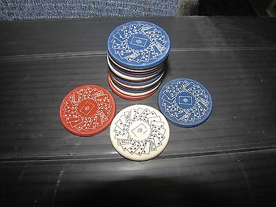 15 Antique Red White & Blue Engraved Double Sided Poker Chips (3144)