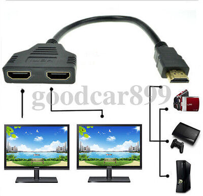 1 In 2 Out HDMI Splitter Amplifier Duplicator Full HD 1080p 3D V1.4 DVD w/ Cable