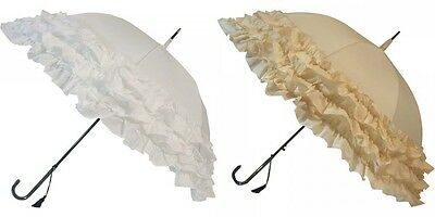 Beautiful Stylish Lulu Triple Frilled Wedding Umbrellas - White or Deep Cream