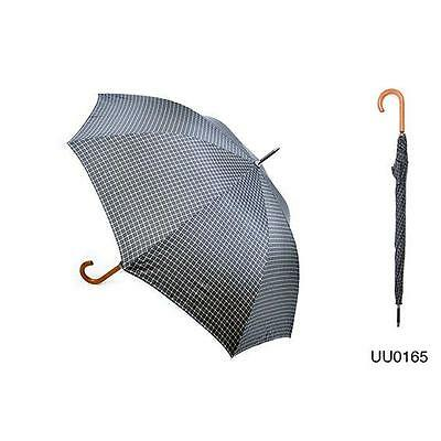 KS Brands UU0165 Mens Checked Walking Umbrella Wooden Crook Handle - Black/White