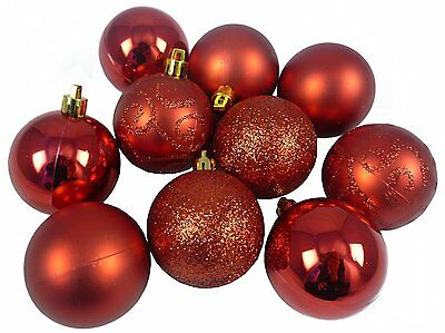 Pack of 10 60mm Red -  Baubles - Christmas Tree Decorations (BA060RD)