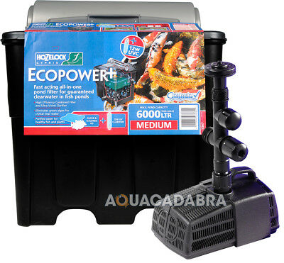 Hozelock Ecopower Plus Filter & Cascade Pump Uv Hose Combi Kit Koi Fish Pond Set