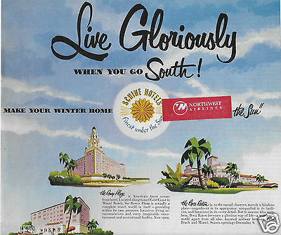 Schine Hotels Live Gloriously When You Go South Miami Roney Plaza-Gulf Stream Ad
