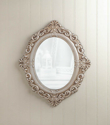 Vintage Estate Antique Style Wood Oval Hanging Wall Mirror Decor~10017058