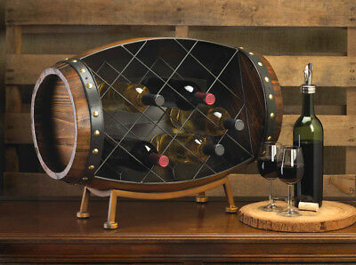 Cask Wine Barrel Bottle Tabletop Rack Bar Kitchen Decor New~10015494